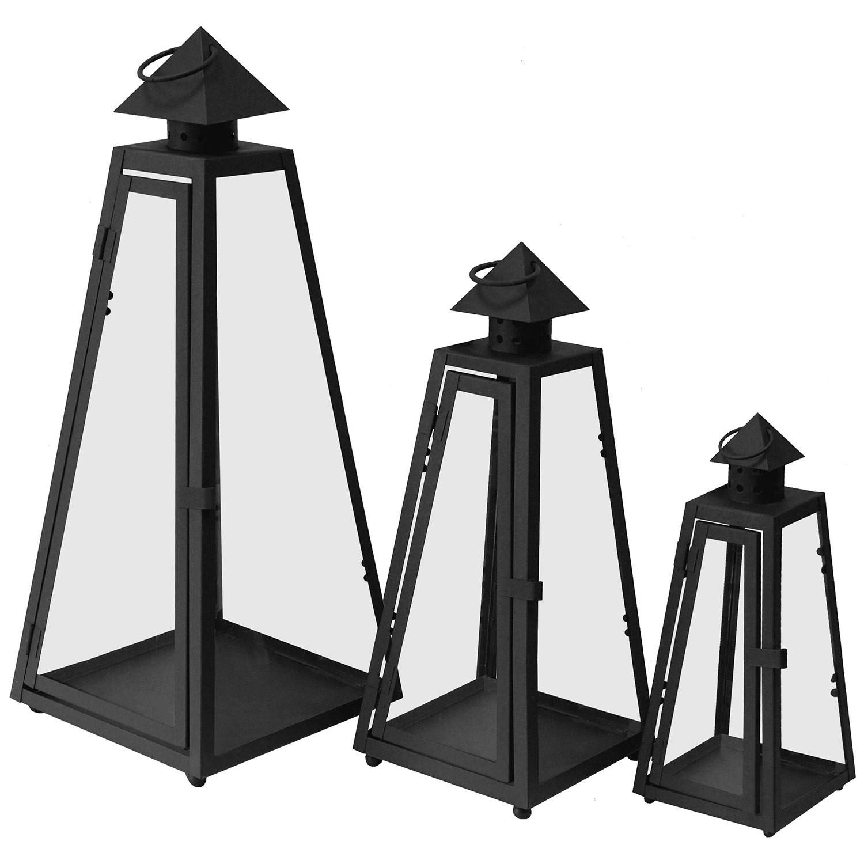 3er set laterne gartenlampe gartenlaterne windlicht metall for Rostige laternen garten