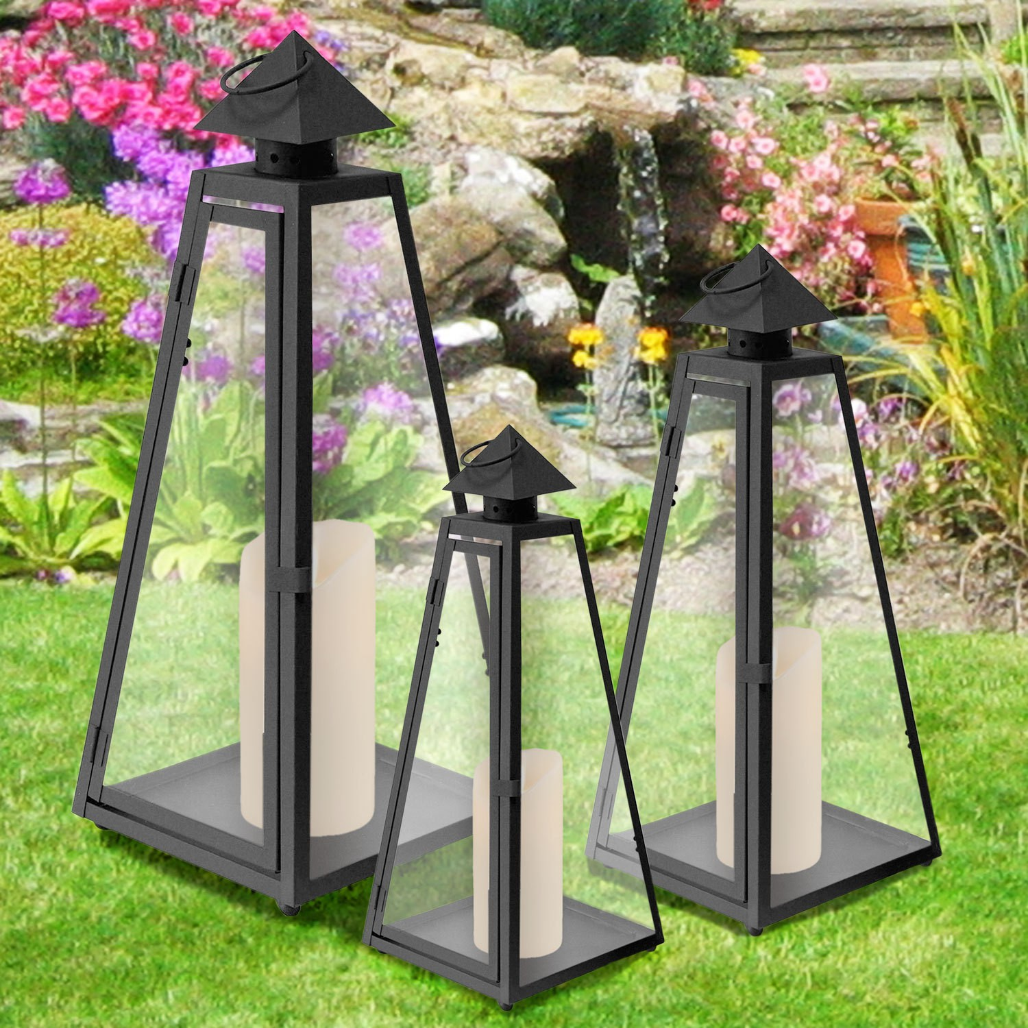 3er set laterne gartenlampe gartenlaterne windlicht metall glas kerzenhalter ebay. Black Bedroom Furniture Sets. Home Design Ideas