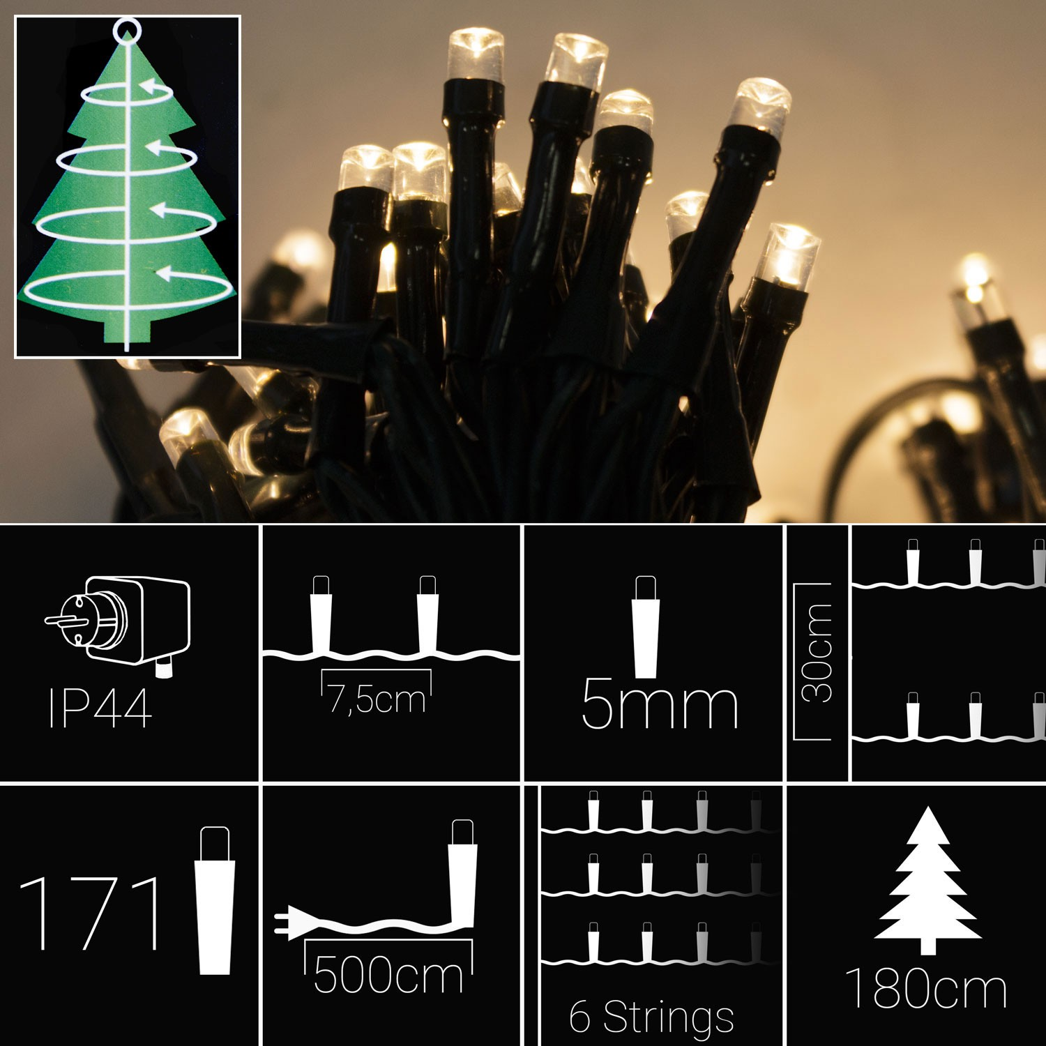led weihnachtsbaum lichterkette f r christb ume bis 210cm. Black Bedroom Furniture Sets. Home Design Ideas
