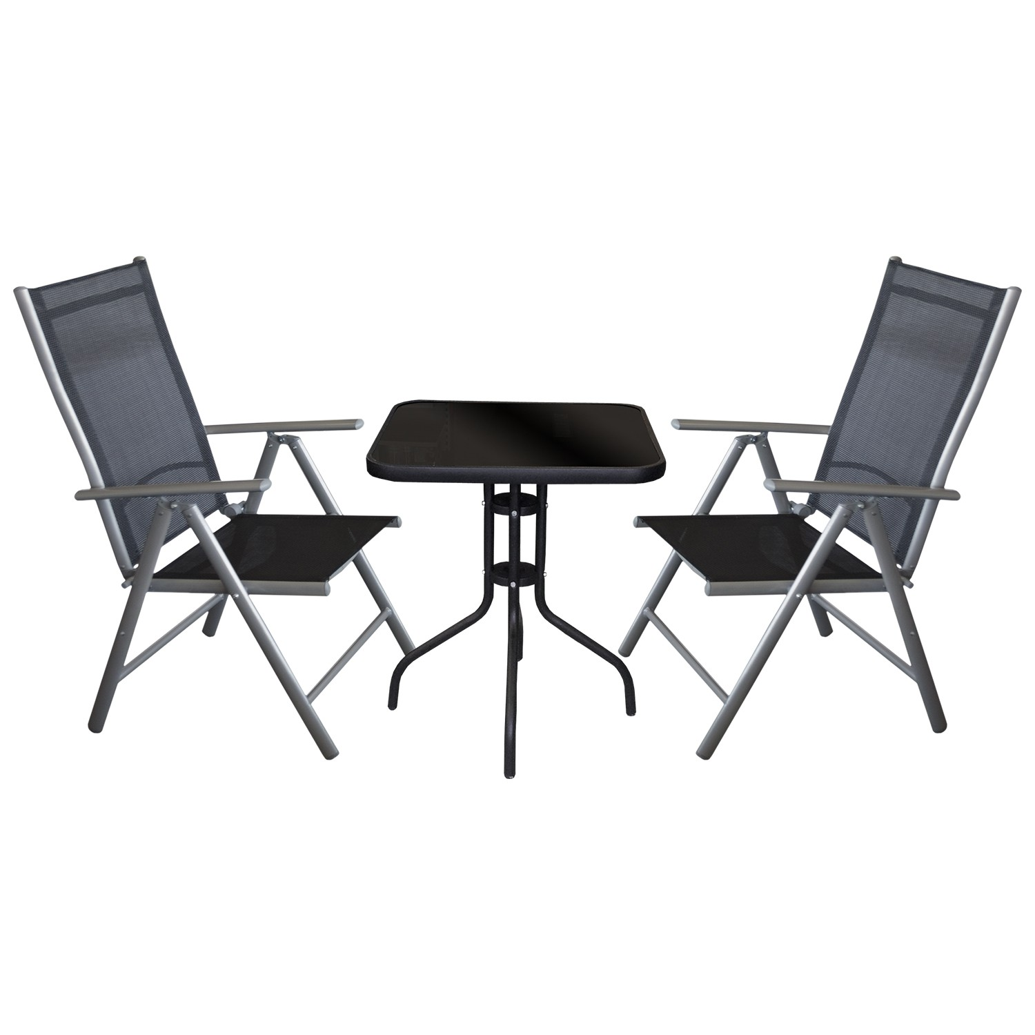 balkonm bel bistro set sitzgruppe 3tlg bistrotisch glas 60x60cm 2x hochlehner ebay. Black Bedroom Furniture Sets. Home Design Ideas